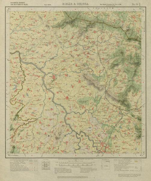 Associate Product SURVEY OF INDIA 73 J/3 Odisha Banka Babni Jharadihi Bahalda Rairangpur 1927 map