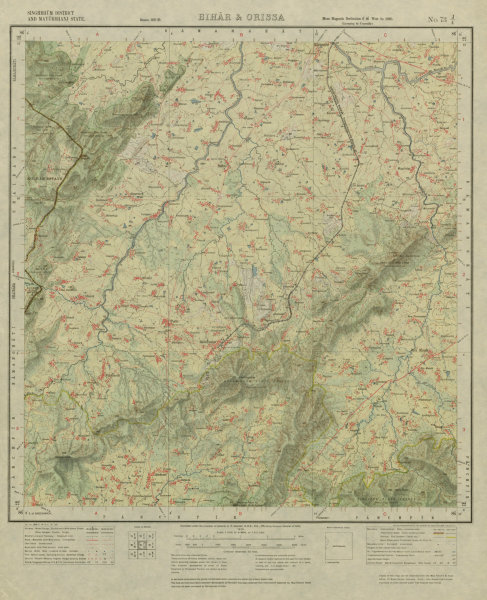 Associate Product SURVEY OF INDIA 73 J/4 Odisha Rairangpur Badampahar Jadida Kuldiha 1926 map