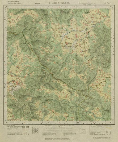 Associate Product SURVEY OF INDIA 73 J/7 Jharkhand Odisha Gorumahisani Ghuma Nuniya Bomro 1926 map