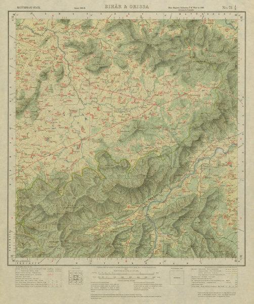 Associate Product SURVEY OF INDIA 73 J/8 Odisha Similipal Park Tiger Reserve Bisoi  1927 old map