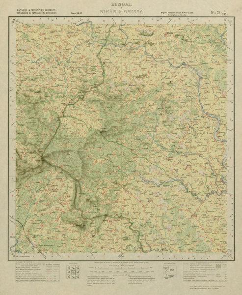 Associate Product SURVEY OF INDIA 73 J/NE West Bengal Chandil Dalma Raipur Ranibandh 1929 map