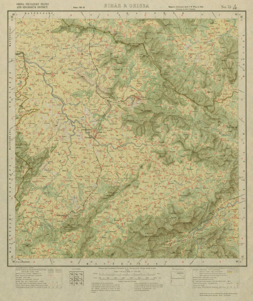 Associate Product SURVEY OF INDIA 73 J/SW Odisha Gorumahisani Rairangpur Manda Bahalda 1929 map