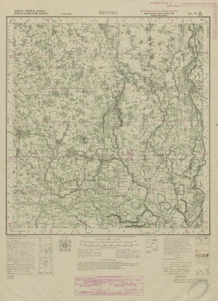Associate Product SURVEY OF INDIA 73 N/NE West Bengal Ghatal Arambagh Chandrakona Bengai 1942 map
