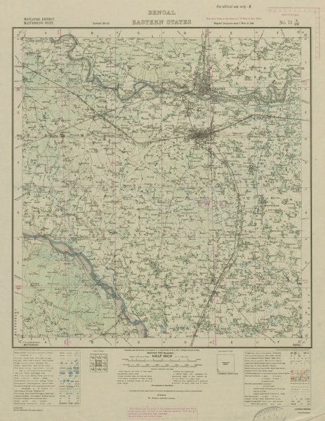Associate Product SURVEY OF INDIA 73 N/SW West Bengal Medinipur Kharagpur Belda Sankrail 1943 map