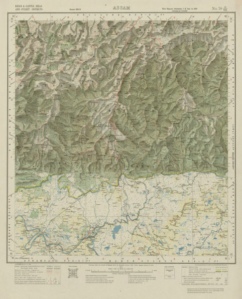 Associate Product SURVEY OF INDIA 78 O/SE Bangladesh Chhatak Sohra Cherrapunjee Mawsynram 1917 map