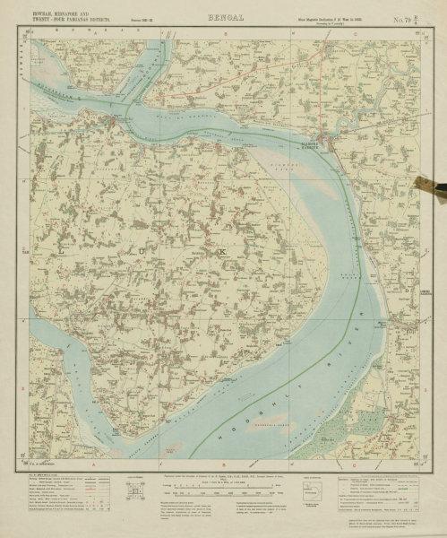 Associate Product SURVEY OF INDIA 79 B/4 West Bengal Hooghly River Diamond Harbour Haldia 1923 map