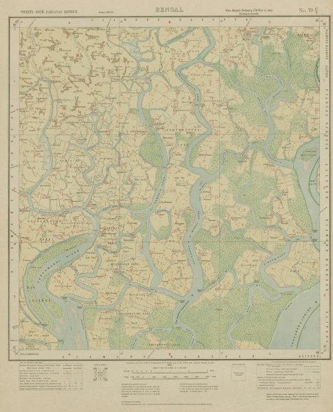 Associate Product SURVEY OF INDIA 79 C/5 West Bengal Jatar Deul Raidighi Pathar Pratima  1922 map