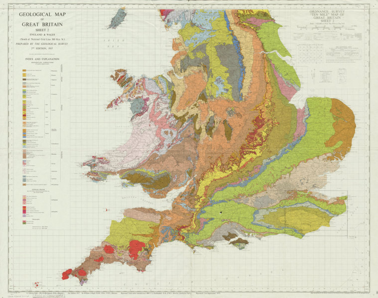 Geological Map Of Great Britain Sheet 2 South England Wales 1971