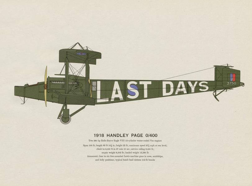 Associate Product Handley Page 0/400 (1918) vintage aeroplane print by Roy Cross. UK 1962