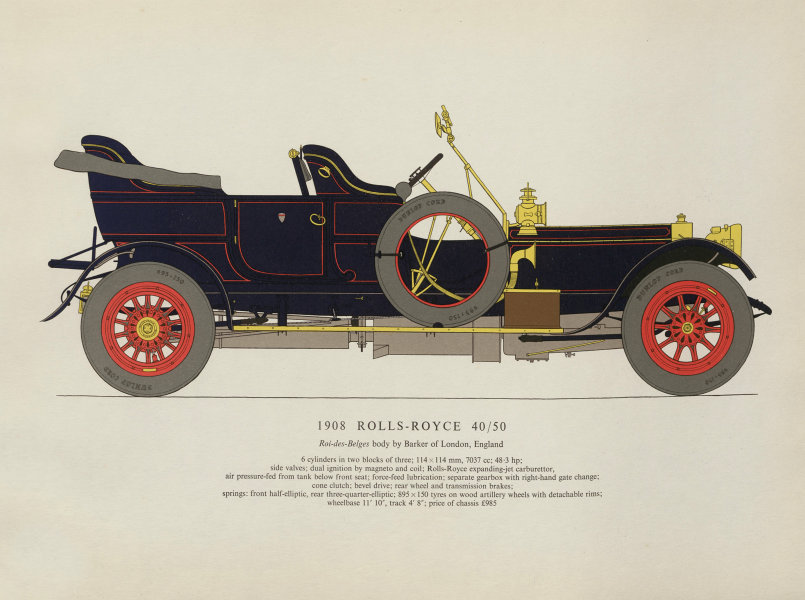 Associate Product Rolls Royce 40/50 Roi-des-Belges touring car (1908) print. George Oliver 1959