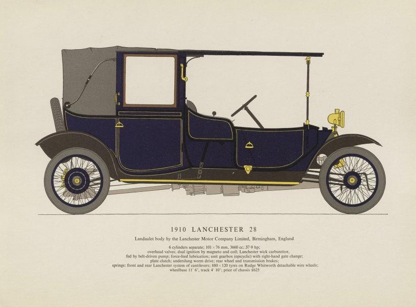 Associate Product Lanchester 28 landaulet (1910) motor car print by George Oliver. Birmingham 1959