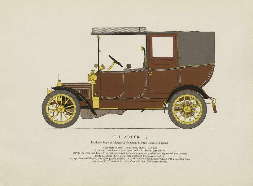 Associate Product Adler 12 landaulet (1911) motor car print by George Oliver. London 1959