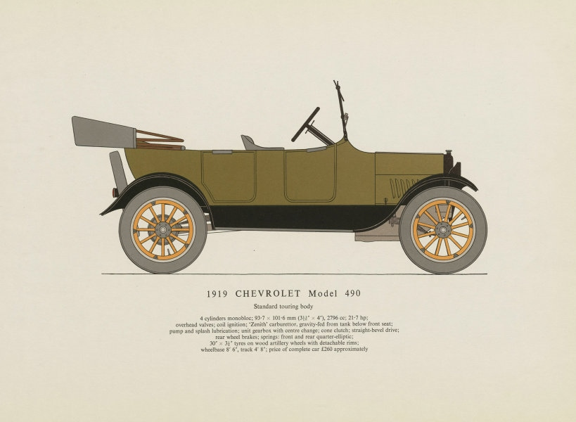 Associate Product Chevrolet Model 490 touring car (1919) motor car print by George Oliver 1961