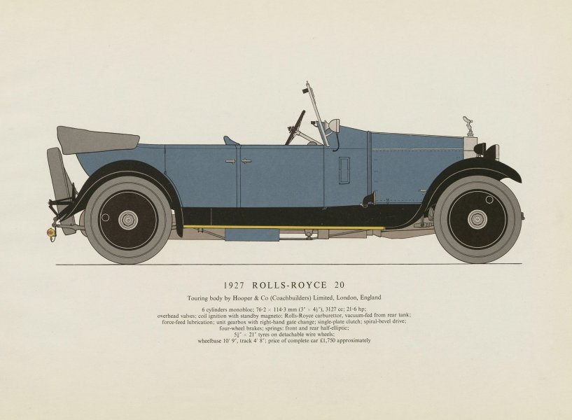 Associate Product Rolls-Royce 20 touring car (1927) motor car print by George Oliver. UK 1961