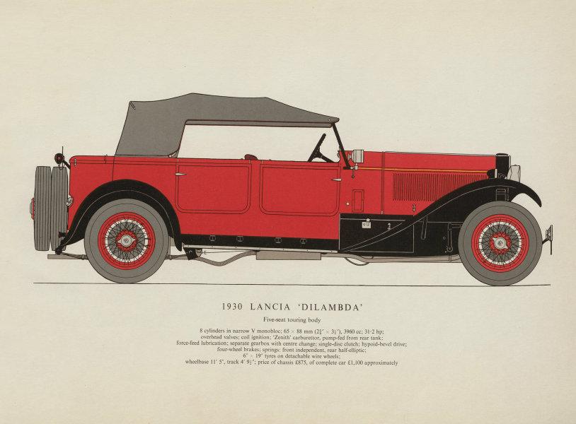 "Associate Product Lancia ""Dilambda"" touring car (1930) motor car print. George Oliver. Italy 1961"