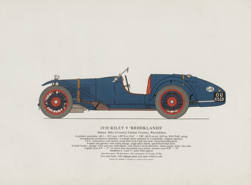 """Associate Product Riley 9 """"Brooklands"""" (1930) sports car print by George Oliver. Coventry 1967"""
