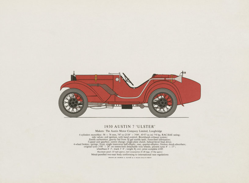 """Associate Product Austin 7 """"Ulster"""" (1930) sports car print by George Oliver. Longbridge 1967"""