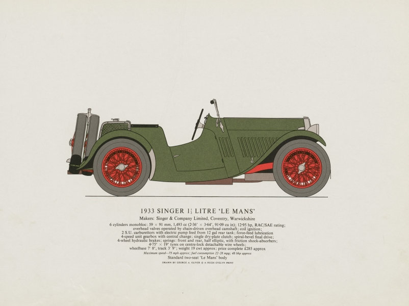 """Associate Product Singer 1.5 litre """"Le Mans"""" (1933) sports car print. George Oliver. Coventry 1967"""