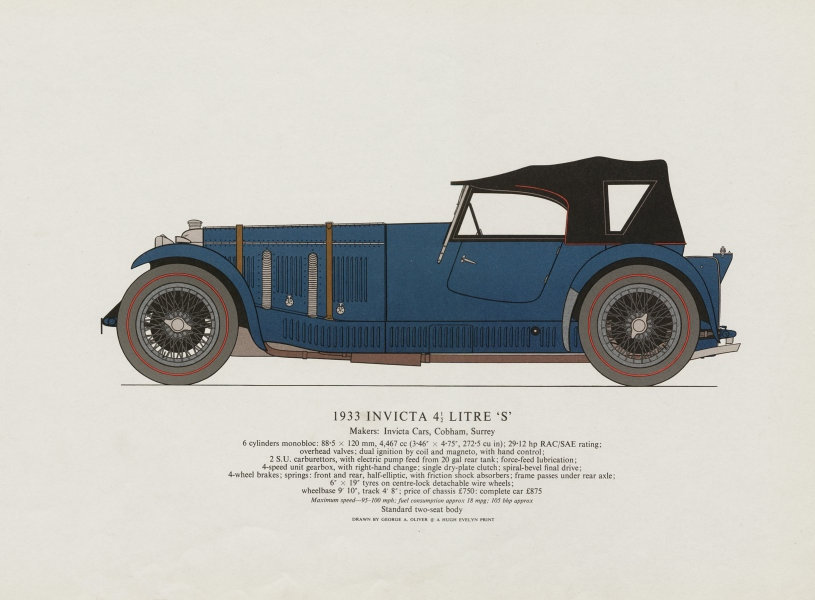 """Associate Product Invicta 4.5 litre """"S"""" (1933) sports car print by George Oliver. Cobham 1967"""