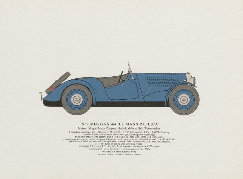 Morgan 4/4 Le Mans Replica (1937) sports car print. George Oliver. Malvern 1967
