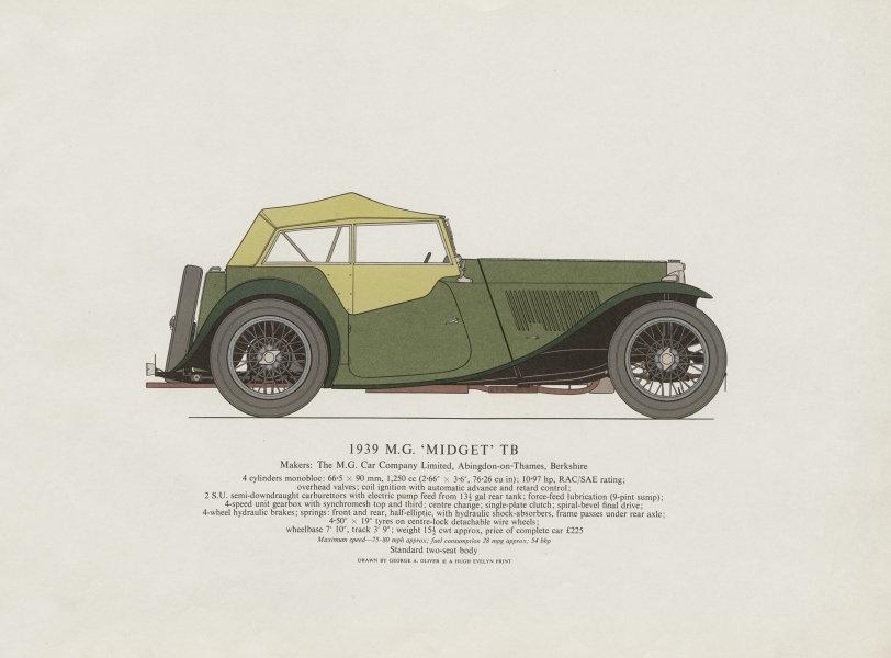 "Associate Product M.G. ""Midget"" TB (1939) sports car print by George Oliver. Abingdon 1967"