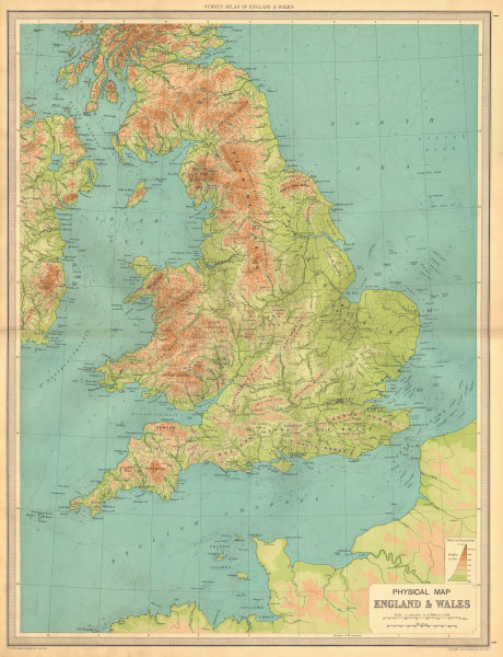 Show Map Of England.Details About England And Wales Physical Map Mountains Elevation Large Bartholomew 1939