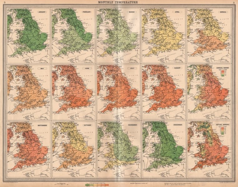 Associate Product GREAT BRITAIN England and Wales Monthly & annual Temperatures. LARGE 1939 map