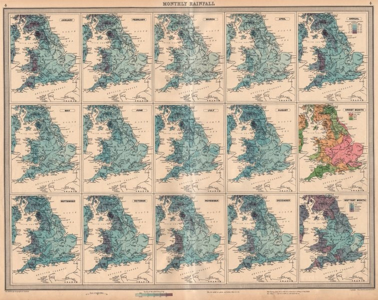Associate Product GREAT BRITAIN England and Wales Monthly & annual Rainfall. LARGE 1939 old map
