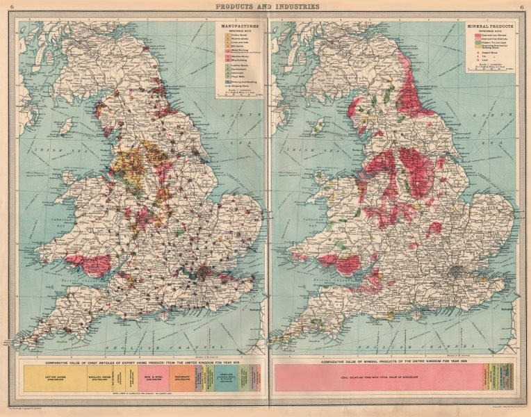 Associate Product ENGLAND WALES Mining Manufacturing Products Industries Coal Cu Tin Pb 1939 map
