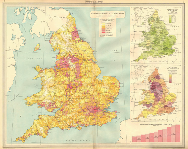 Associate Product ENGLAND & WALES Population density agricultural industrial commercial 1939 map