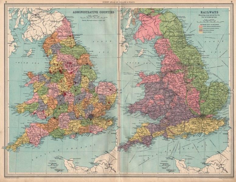 Associate Product UK Counties Isle of Ely Soke of Peterborough Rail Companies. LARGE 1939 map