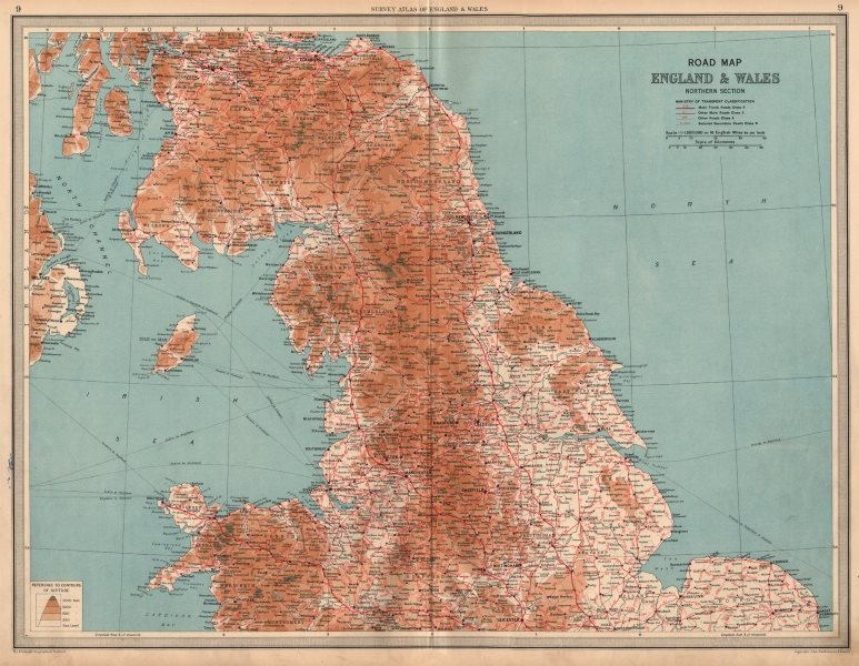 Associate Product ENGLAND & WALES NORTH Road Map A & B roads Pre-motorways. LARGE 1939 old