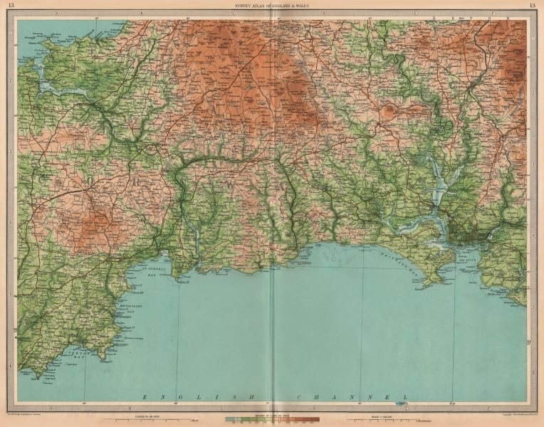 Associate Product CORNWALL Bodmin Moor Plymouth Looe Fowey Padstow St Austell. LARGE 1939 map
