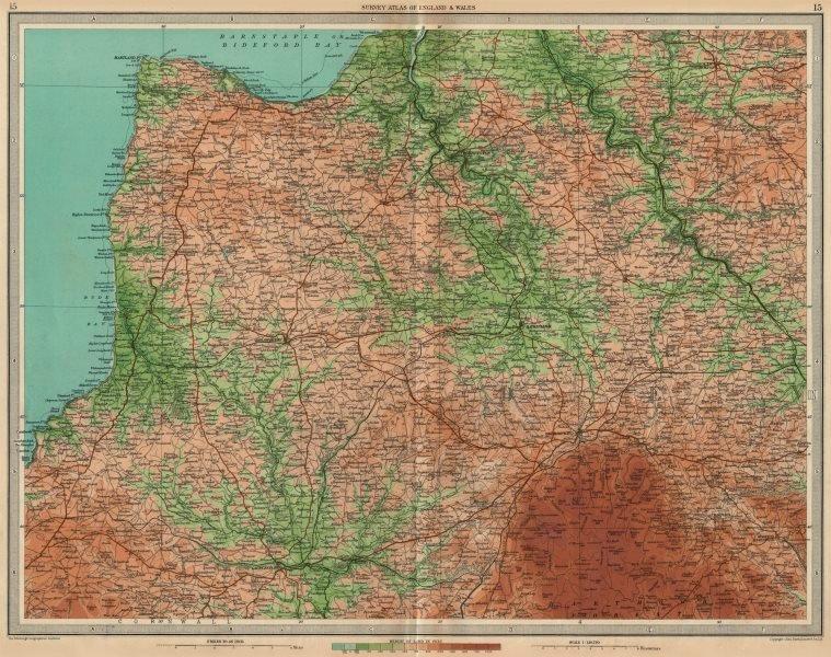 Associate Product NORTH DEVON/EAST CORNWALL Bideford Launceston Bodmin Moor Clovelly 1939 map