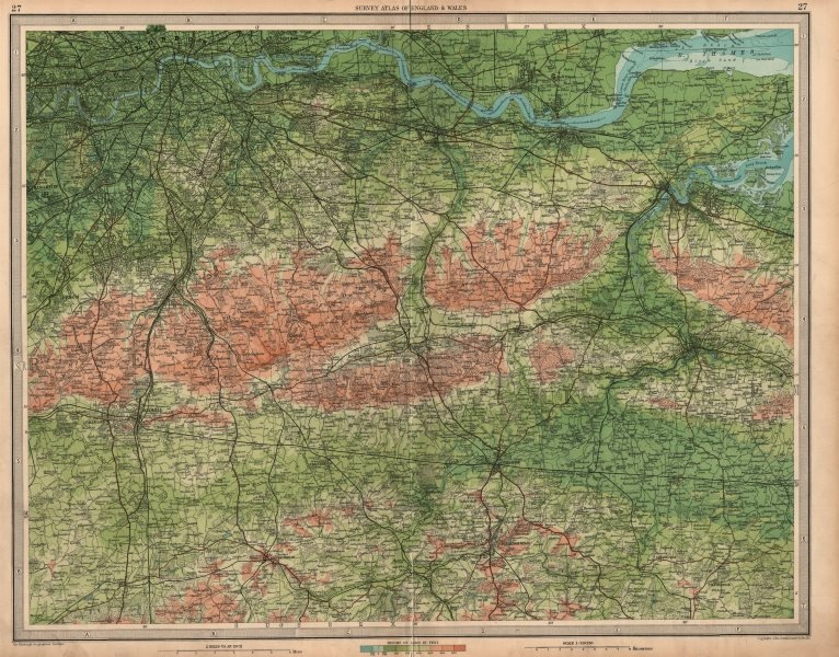 Associate Product SOUTH LONDON & NORTH DOWNS Chatham Tonbridge Maidstone Kent Surrey 1939 map