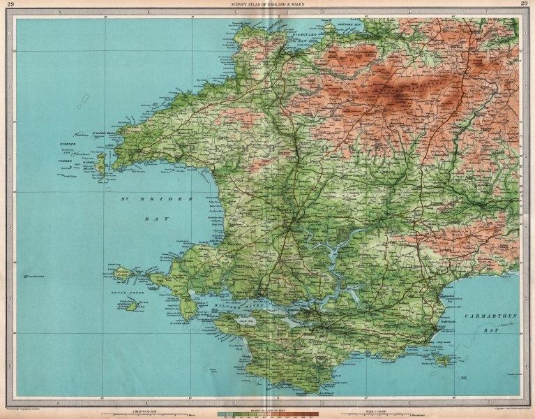 Associate Product PEMBROKESHIRE Milford Haven St David's Pembroke Haverfordwest. LARGE 1939 map