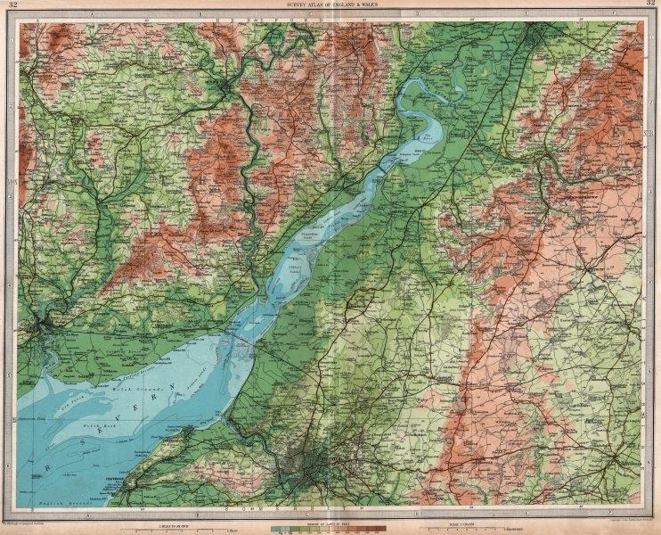 Associate Product SEVERN ESTUARY Bristol Newport Monmouth Gloucester Stroud. LARGE 1939 old map