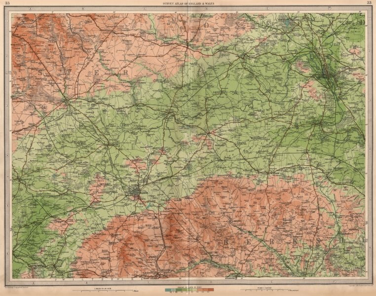 Associate Product UPPER THAMES VALLEY Swindon Oxford Berks Downs Cirencester Cotswolds 1939 map