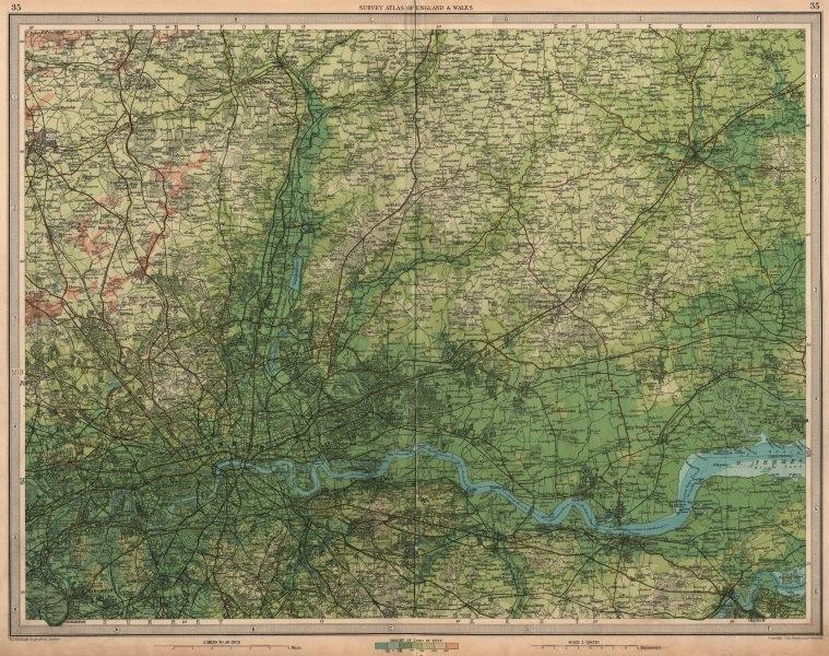 Associate Product LONDON & SW ESSEX Gravesend Romford Chelmsford Hertford St Albans LARGE 1939 map