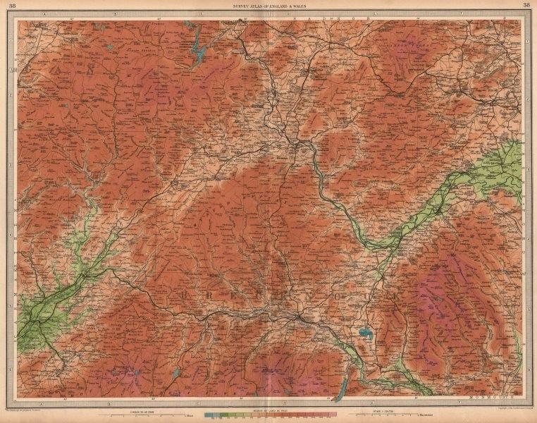 Associate Product BRECKNOCKSHIRE Brecon Beacons Hay-on-Wye Usk Llandovery Black Mtns 1939 map