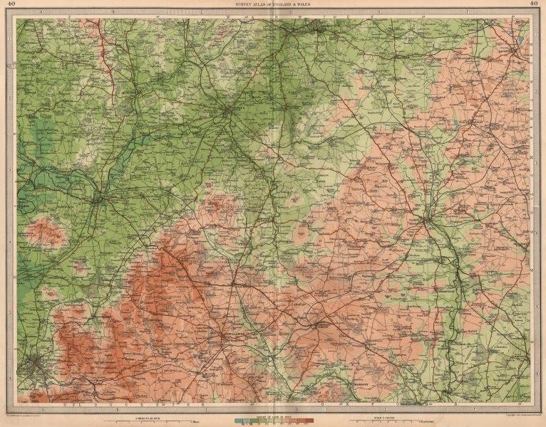 COTSWOLDS NORTH Stratford-on-Avon Leamington Banbury Cheltenham. LARGE 1939 map
