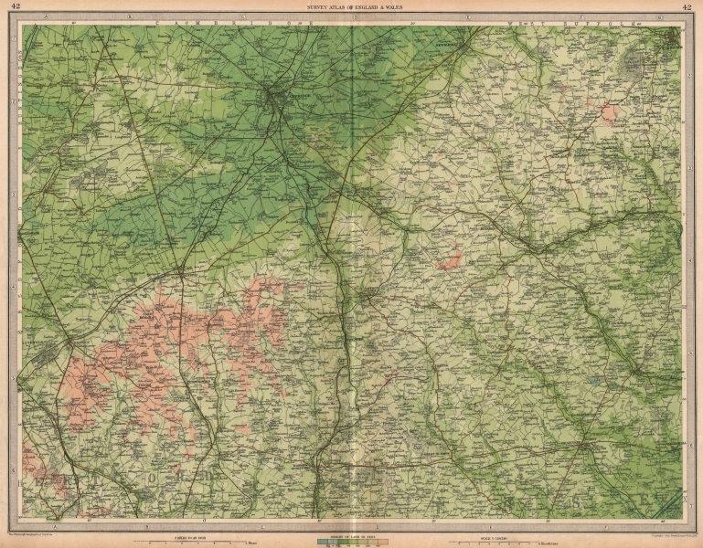 Associate Product EAST ANGLIA Cambridge Bury St Edmunds Braintree Saffron Walden. LARGE 1939 map