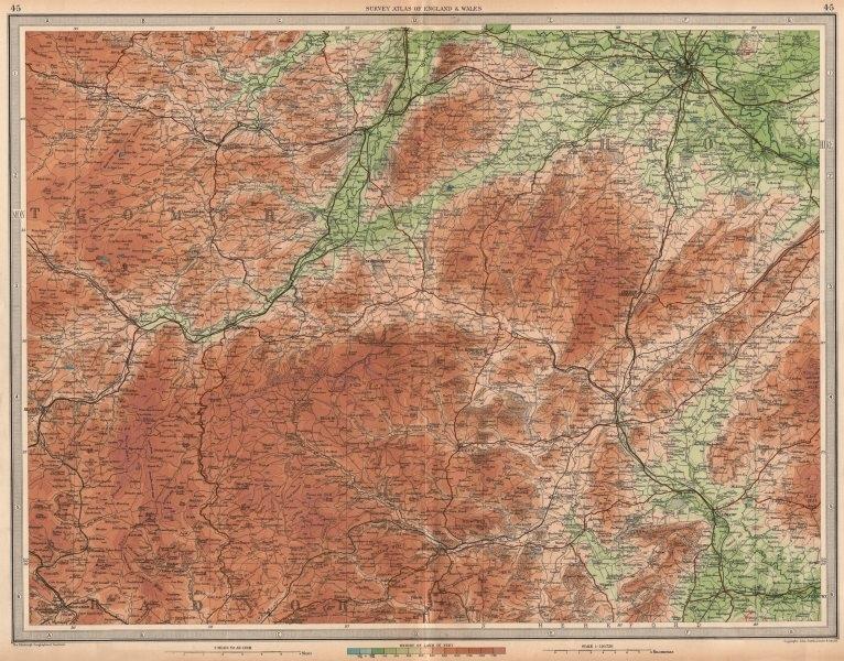 Associate Product SHROPSHIRE HILLS Montgomery Shrewsbury Ludlow Clun Welshpool Wales 1939 map