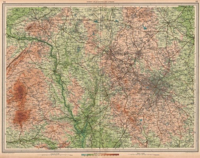 W MIDLANDS/SEVERN VALLEY Birmingham Shropshire Hills Wolverhampton 1939 map