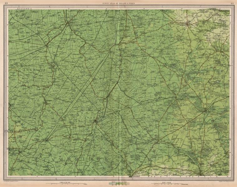 Associate Product THE FENS Cambridgeshire Isle of Ely Thetford Swaffham East Anglia LARGE 1939 map