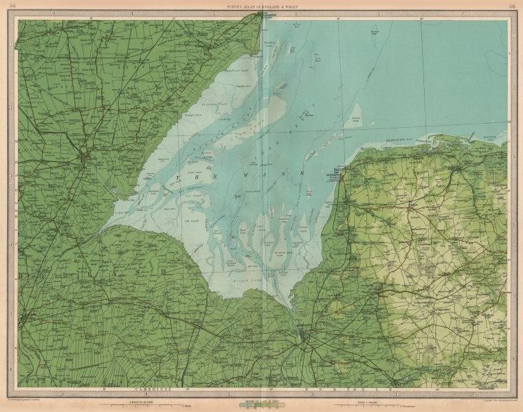 Associate Product THE WASH Boston King's Lynn Hunstanton Wainfleet Lincs Norfolk. LARGE 1939 map