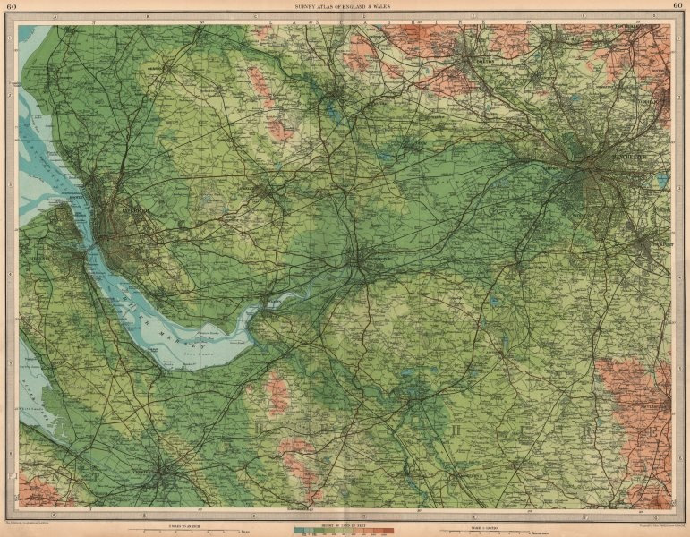 Associate Product NW ENGLAND Liverpool Manchester Cheshire Bolton Wilmslow Bolton. LARGE 1939 map