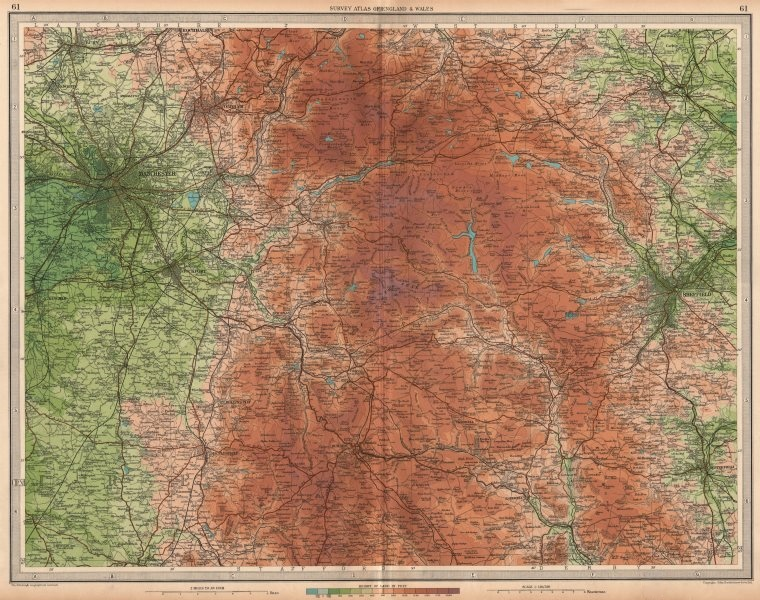 Associate Product PEAK DISTRICT Manchester Sheffield Chesterfield Ches Yorks Derbys LARGE 1939 map