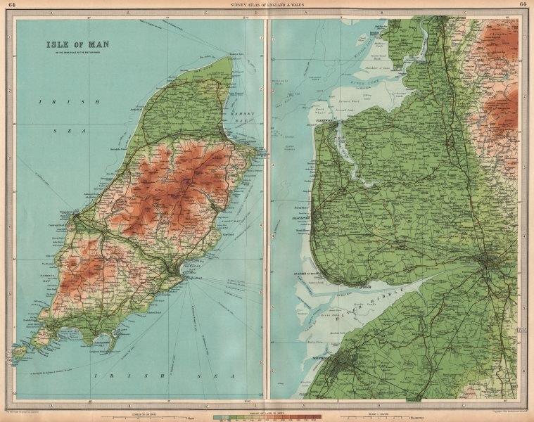 Associate Product LANCASHIRE COAST/ISLE OF MAN Preston Blackpool Lytham Lancaster. LARGE 1939 map