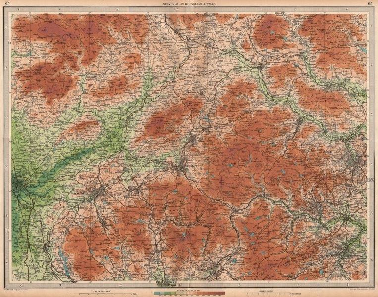 Associate Product LANCASHIRE/YORKSHIRE Blackburn Halifax Bradford Burnley Ribble Valley 1939 map